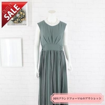 56%OFF ドレス セール 結婚式ドレス 二次会 ロング |上品レースとシフォンのロングドレスMサイズ(カーキ)
