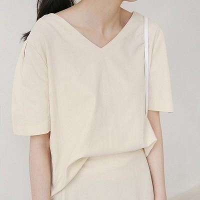 レディース ブラウス Vネック 半袖 ショートシャツ トップス ブラウン ベージュ 茶色 フリーサイズ 送料無料
