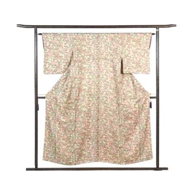 リサイクル着物 小紋 正絹茶色地花柄袷小紋着物