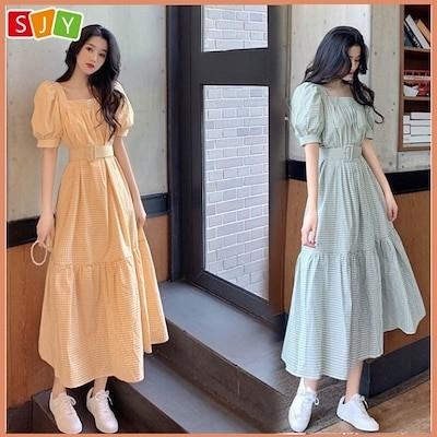 送料無料!S3XL 韓国ファッション レディース服 ワンピース ドレス半袖 ロングワンピ Q-2027