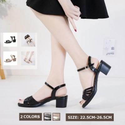 シューズ 痛くない チャンキーヒールサンダル レディースビック 2種デザイン 大きいサイズ 婦人靴 夏サンダル 美脚 歩きやすい カジュア