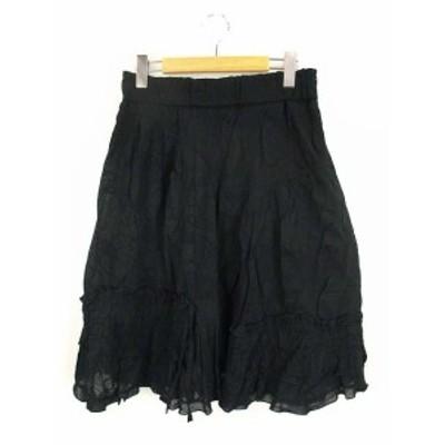 【中古】イークラット E-clat エイココンドウ ギャザー スカート ひざ丈 フリル ティアード コットン 黒 ブラック 42