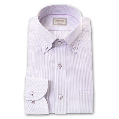 LORDSON by CHOYA 長袖 ワイシャツ メンズ ボタンダウン 形態安定加工 パープルピンストライプ 綿100%