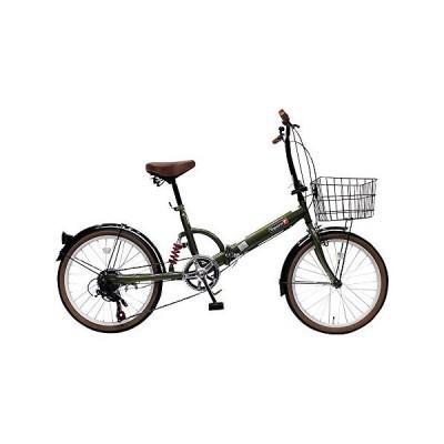 TOP ONE トップワン 20インチ 折畳み自転車 外装6段ギア付 オリーブ FS206LL-37-OL