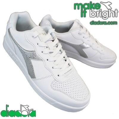 ディアドラ  175781 プレイグラウンド GS ガール PLAYGROUND GS GIRL ホワイト/シルバー レディース スニーカー 紐靴 通学靴  diadora
