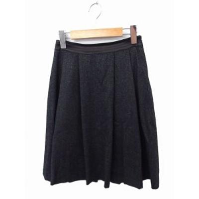 【中古】クミキョク 組曲 KUMIKYOKU スカート ギャザー ひざ丈 無地 シンプル ウール S グレー /FT53 レディース