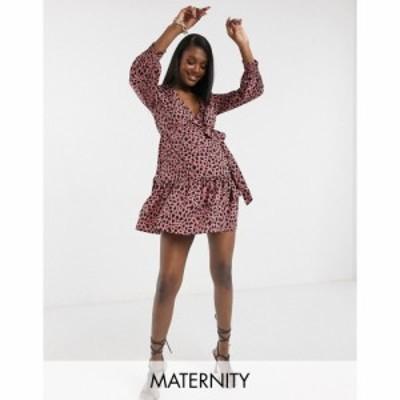 インフルエンス Influence Maternity レディース ワンピース ラップドレス ワンピース・ドレス Wrap Dress In Spot Print ピンク/ブラッ