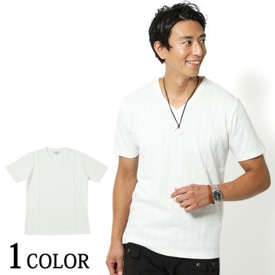 カットソー メンズ Tシャツ トップス 半袖 千鳥柄Vネック半袖Tシャツ