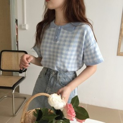 2020SS トップス ポロシャツ Tシャツ ギンガムチェック柄 2色 オルチャン 韓国ファッション プチプラ TA04092