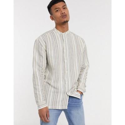 エイソス ASOS DESIGN メンズ シャツ トップス 90s oversized shirt in natural ecru stripe ベージュ