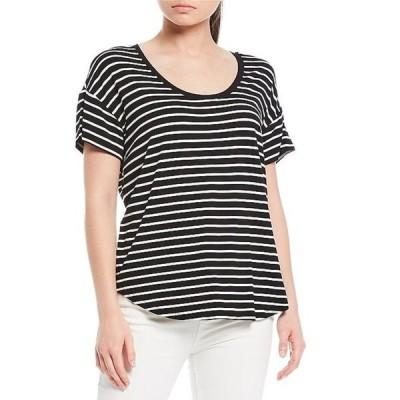 ギブソンアンドラティマー レディース Tシャツ トップス Scoop Neck Stripe Knit Tee