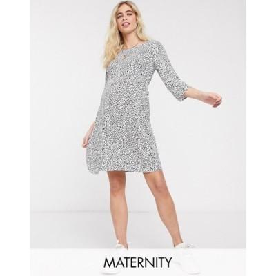 ママライシアス レディース ワンピース トップス Mamalicious Maternity mini dress in white abstract print