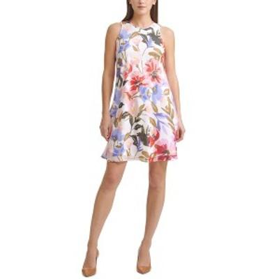カルバンクライン レディース ワンピース トップス Petite Floral-Print Dress Cream/Fire Multi