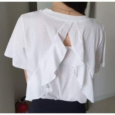 トップス Tシャツ フリル バックコンシャス 袖コンシャス tp84