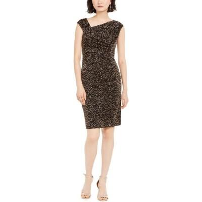 ヴィンス カムート Vince Camuto レディース ボディコンドレス ワンピース・ドレス Metallic Animal-Print Bodycon Dress Black/Gold