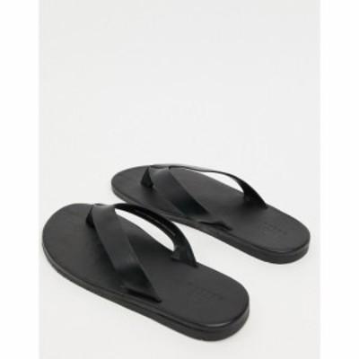 エイソス ASOS DESIGN メンズ ビーチサンダル シューズ・靴 Flip Flops In Black Leather ブラック