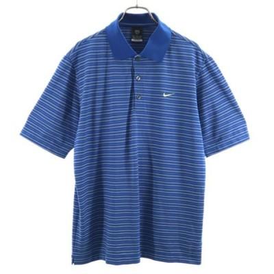 美品 ナイキ ゴルフ DRY-FIT UV スポーツ  ボーダー 半袖 ポロシャツ M ブルー×グレー NIKE ワンポイント刺繍 メンズ 古着 210904 メール便可