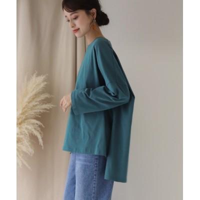 【ブルーイースト】 スリット ビッグシルエットTシャツ レディース グリーン M(01) BLUEEAST