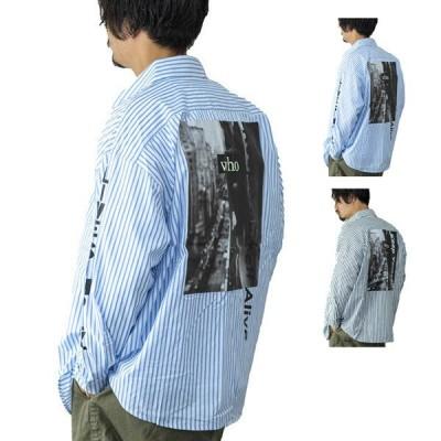 シャツ メンズ 長袖 おしゃれ ビジネス 春 カジュアル バックプリント フォト ロゴ ストライプ トップス