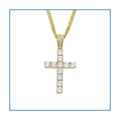 MCSAYS Hip Hop Jewelry Iced Out Bling Full Crystal Cross Pendant Golden Cuban Chain Religious Christian Necklace Fashion Accessories for Men