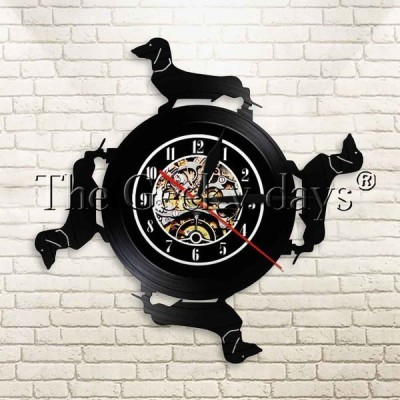 希少 輸入雑貨 ダックスフンド 犬 掛け時計 壁アート ヴィンテージ 30cm レコード盤 人気 インテリア