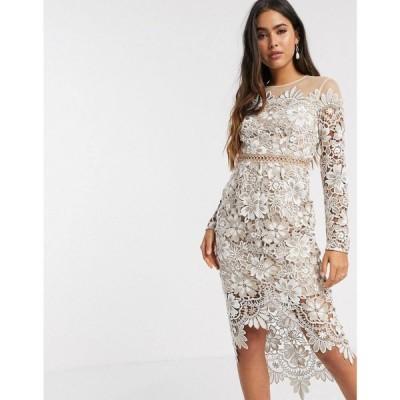 エイソス ASOS DESIGN レディース ワンピース ミドル丈 ワンピース・ドレス Asos Design Embroidered Floral Midi Dress With Circle Trim クリーム