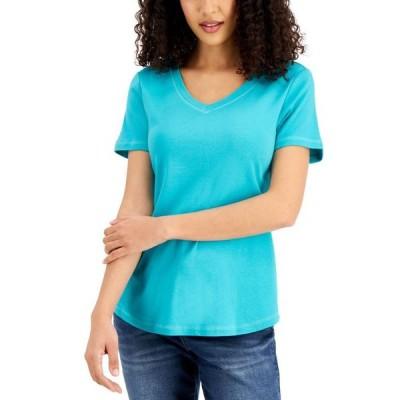 ケレンスコット レディース シャツ トップス V-Neck Cotton T-Shirt