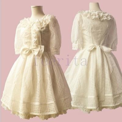 フリルレース襟 プリンセスワンピース 大きなリボン お嬢様 オーガンザ 中袖プリンセスドレス 二次会 コスプレ パーティードレス 大人