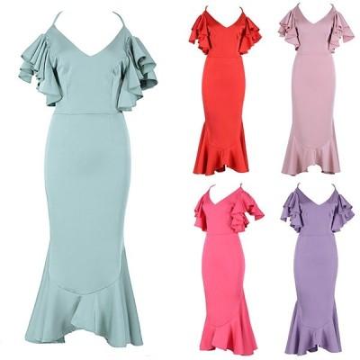 ドレス パーティードレス ミディアムドレス フリル オープンバック 背中開き マーメイド スレンダー レトロ オードリー 袖なし 被らない キャバ