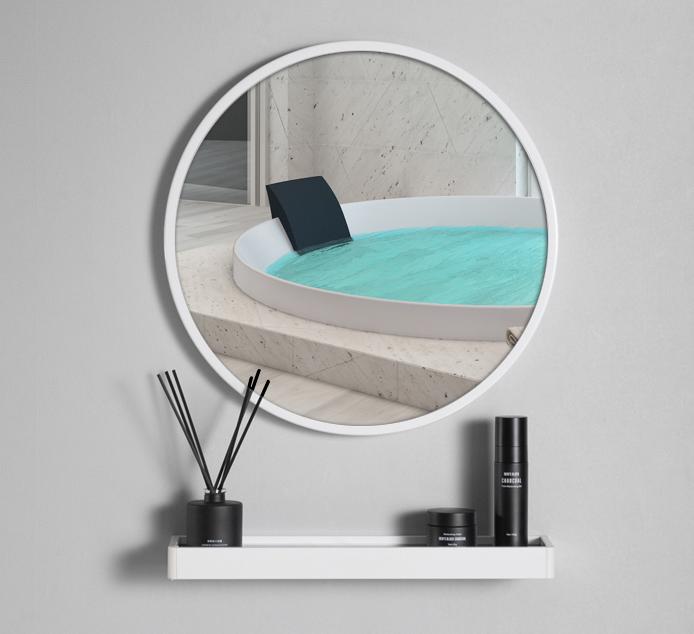 鏡子 圓鏡 60cm 壁掛鏡 化妝鏡 梳妝鏡 北歐浴室鏡子 衛生間圓形鏡子免打孔壁掛廁所洗手間化妝鏡