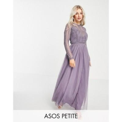 エイソス ASOS Petite レディース ワンピース マキシ丈 ASOS DESIGN Petite embellished bodice maxi dress with tulle skirt in lilac ライラック