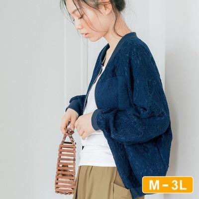 Ranan 【M~3L】レース切替ゆるブルゾン ブルー M レディース