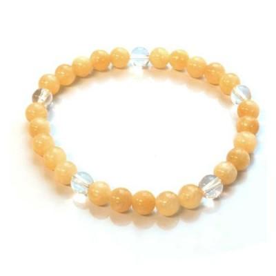 水晶5石6mm玉ブレスレット オレンジアラゴナイト 天然石 パワーストーン アクセサリー  メール便可
