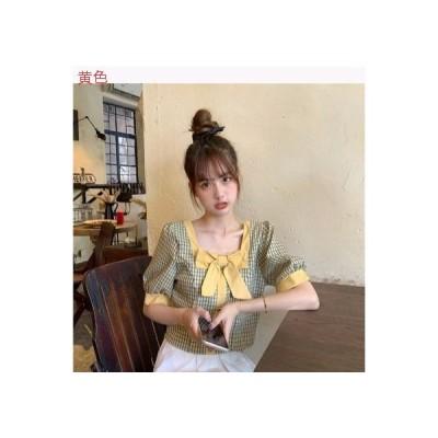 【送料無料】レディース 韓国風 スクエアネック グリッドシャツ 女 デザイン 感 小 ト | 364331_A63343-3750621