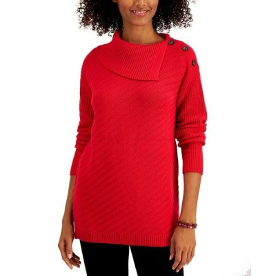 スタイルアンドコー ニット&セーター アウター レディース Plus Size Envelope-Neck Tunic Sweater, Created for Macy's Infrared