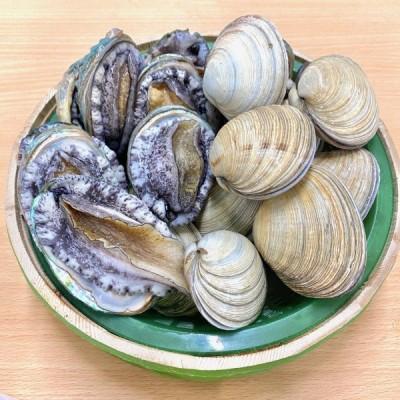 (活)蝦夷鮑9~11個(総量約700g) 大あさり8~10個(総量約1.2kg)大満足2種の貝セット /【あわび アワビ 大アサリ】
