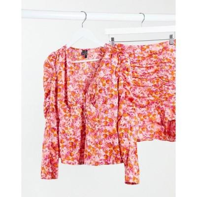 ヴェロモーダ シャツ ブラウス レディース Vero Moda co-ord blouse with puff sleeve in pink floral エイソス ASOS ピンク