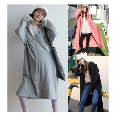 全3色 コート スリット 切り替え 体型カバー 着痩せ 帽子付き シンプル 大きいサイズ