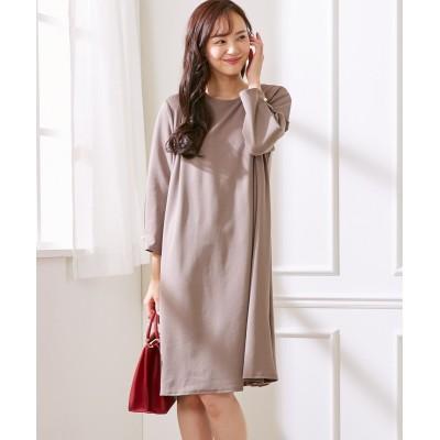 後プリーツ切替がポイント♪きれい見えカットソー素材ワンピース (ワンピース)Dress