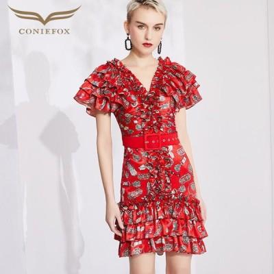 【CONIEFOX】高品質★総柄Vネックフリルベルト半袖付きタイトラインミニドレス♪レッド 赤 ワンピース ミディアムドレス 大きいサイズ 送料無料