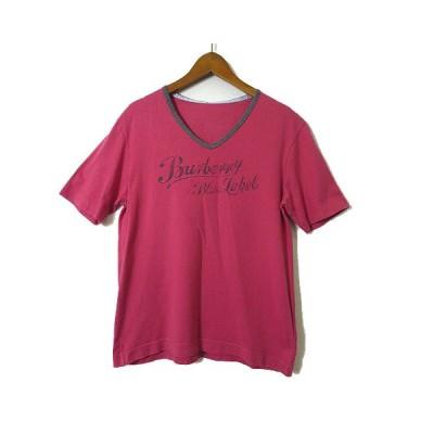 【中古】バーバリーブルーレーベル BURBERRY BLUE LABEL Tシャツ カットソー ロゴ プリント 半袖 Vネック ヴィンテージ加工 M 赤 レディース 【ベクトル 古着】