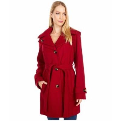 ロンドンフォグ レディース コート アウター Button Front Tie Waist Wool Coat Red