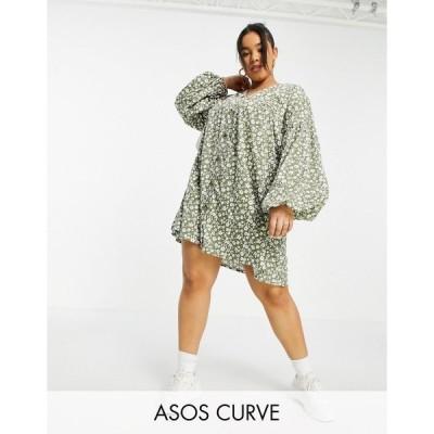 エイソス ドレス 大きいサイズ レディース ASOS DESIGN Curve button through mini smock dress with long sleeves in sage floral print エイソス ASOS
