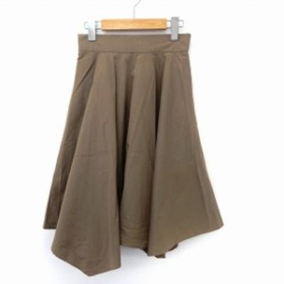 【中古】トランテアン ソン ドゥ モード 31 Sons de mode スカート フレア 膝丈 シンプル バックジップ 36 カーキ
