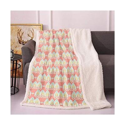 SeptSonne Retro Sherpa Blankets,Paisley Swirly Leaves Pattern Pastel Tones Arabesque Ornamental Boho Art Lightweight Fluffy Flannel,Cozy, Al