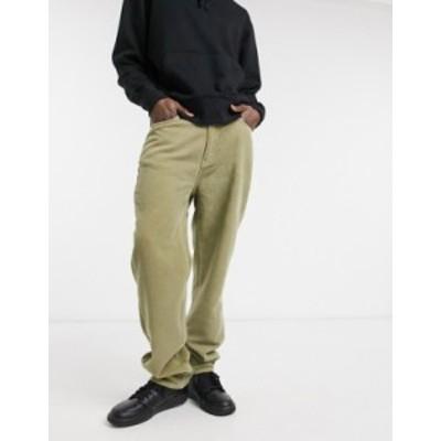 エイソス メンズ デニムパンツ ボトムス ASOS DESIGN dad corduroy jeans in green Multi