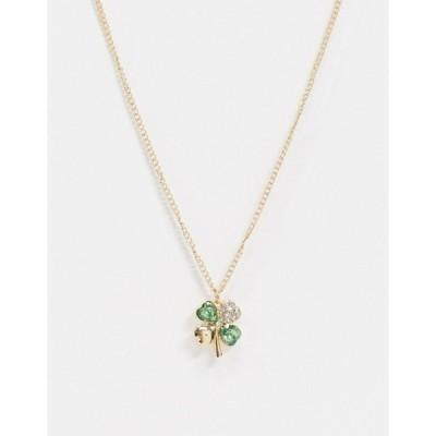エイソス レディース ネックレス・チョーカー アクセサリー ASOS DESIGN necklace with four leaf clover pendant in gold tone