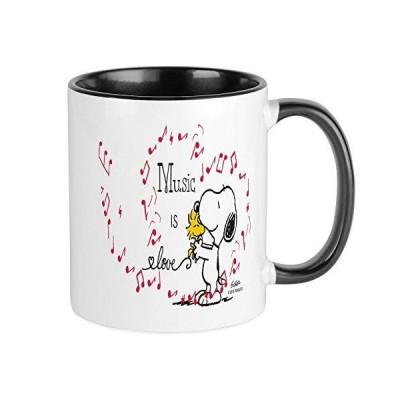 CafePress???スヌーピー???Music is love???Uniqueコーヒーマグカップ、コーヒーカップ S 1702424506BC6