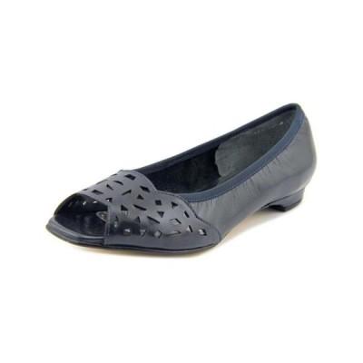 レディース 靴 スニーカー Mark Lemp Classics Womens Mercy Leather Peep Toe Slide Flats