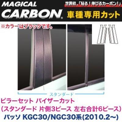 ピラーセット バイザーカット(スタンダード 左右合計6ピース) マジカルカーボン ブラック パッソ 30系(H22/2~)/ハセプロ:CPT-V64